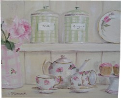 ORIGINAL Whimsical PAINTING - The Kitchen Shelf - Postage is included Australia wide
