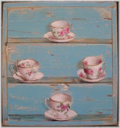 Original Painting on Chippy Panel - Love of Tea Cups - Postage is included Australia wide