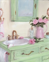 Original Whimsical Painting -  The Shabby Chic Bathroom - Postage is included