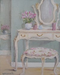 Original Whimsical Painting - The Shabby Chic Dressing Table - Postage is included Australia Wide
