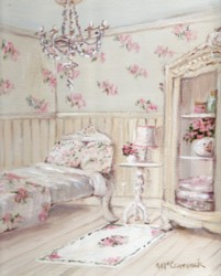 PRINT ON PAPER - The Floral Guest Room - FREE  Shipping WORLD WIDE