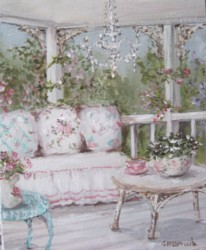 Original Whimsical Painting - The Shabby Chic Verandah Room - Postage is included Australia Wide