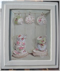 Original Painting - Vintage China in a Cupboard - Postage is included in the price Australia