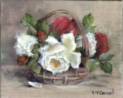 Original Painting on Linen - Vintage Roses in a Garden Basket - Postage is included Australia Wide