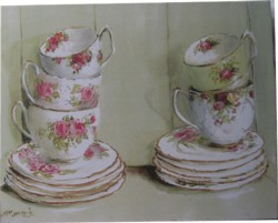 Ready to Frame Print  - Vintage China in a Cupboard - Postage is included Worldwide