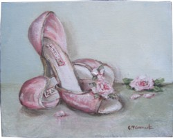 Original Whimsical Painting - Pink Shoes with Roses - Postage is included Australia Wide