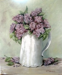 Ready to hang Print - Lilacs in a White Jug - FREE POSTAGE Australia wide