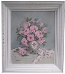 Original Painting - Larger size - Abundance of Pink Roses - Postage is included Australia wide