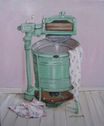 Original Painting on Canvas - The Vintage Washing Machine - Postage is included Australia Wide
