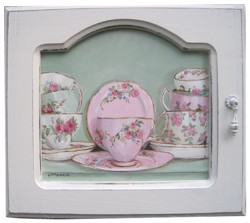 Original Painting - Cups and Saucers in a Cupboard - FREE POSTAGE Australia wide