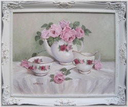 Original Painting - Larger size - English China Tea Set and Roses - Postage is included Australia wide