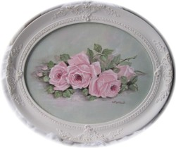 Original Painting  - Oval framed Pink Resting Roses - FREE POSTAGE AUSTRALIA WIDE