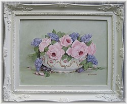 Original Painting - Spring Lilacs and Roses - Postage is included Australia wide