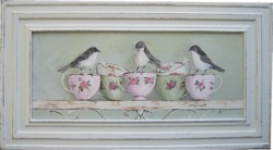 Original Painting - Birds and China Tea Cups - Postage is included Australia wide