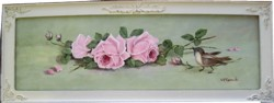Original Painting - Bird & Pink Roses -  Postage is included Australia wide