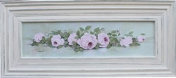 Original Painting - Long Framed Pink Laying Roses