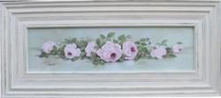 Original Painting - Long Framed Pink Laying Roses