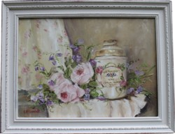 Original Painting - Vintage Powder Tin & Flowers - Postage is included in the price Australia wide